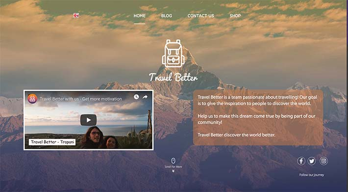 Travel Better is a website created by Invent Better this image represent an example of page in it.
